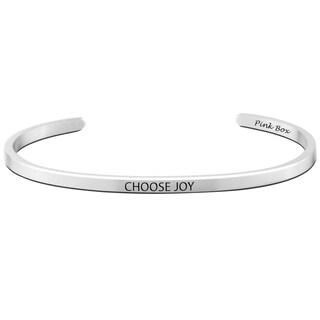 Pink Box 3mm Stainless Steel 'Choose Joy' Cuff Bracelet