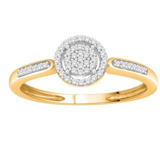 Trillion Designs 10k Yellow Gold 1/10ct TDW Diamond Cluster Engagement Ring (H-I, I1-I2)