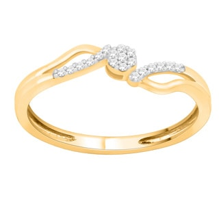 Trillion Designs 10k Yellow Gold 1/10ct TDW Natural Diamond Bypass Engagement Ring (H-I, I1-I2)