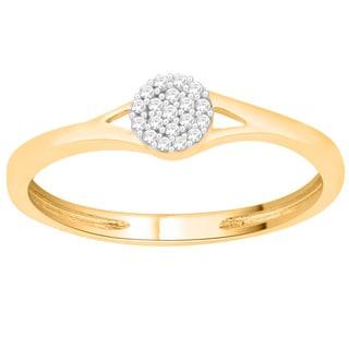 Trillion Designs 10k Yellow Gold 1/10ct TDW Diamond Split-shank Cluster Engagement Ring (H-I, I1-I2)