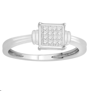 Trillion Designs Sterling Silver Natural Diamond Accent Engagement Ring (H-I, I2)