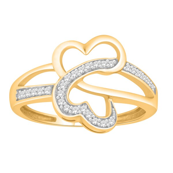da9356f5df Trillion Designs 10k Yellow Gold 1/8ct TDW Natural Round-cut Diamond Accent  Heart