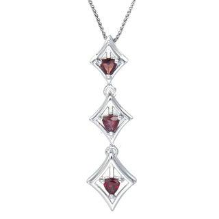 Sterling-silver 0.4-carat Garnet Trillion-cut 3-stone Pendant With Chain