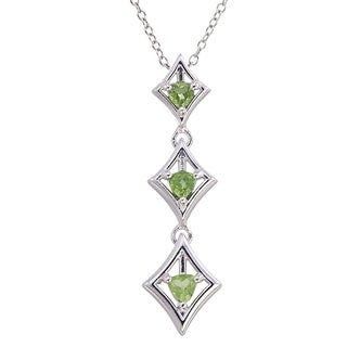 Sterling-silver 0.4-carat Peridot Trillion-cut 3-stone Pendant With Chain