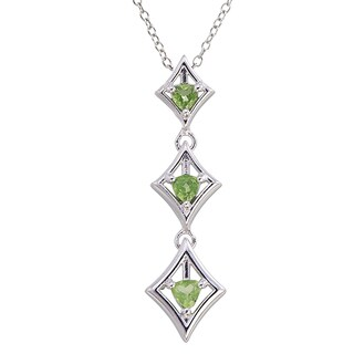 Sterling-silver 0.4-carat Peridot Trillion-cut 3-stone Pendant With Chain