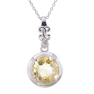 Sterling Silver 3.50-carat Citrine Milgrain Pendant with Chain