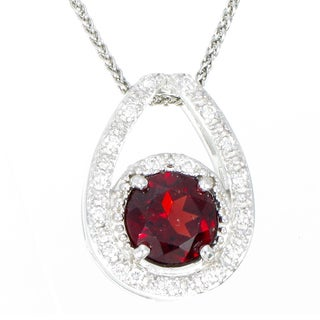 Sterling Silver 1.05-carat Garnet Halo Drop Pendant Necklace