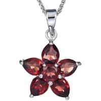 Sterling Silver 1.60-carat Garnet Flower Pendant Chain