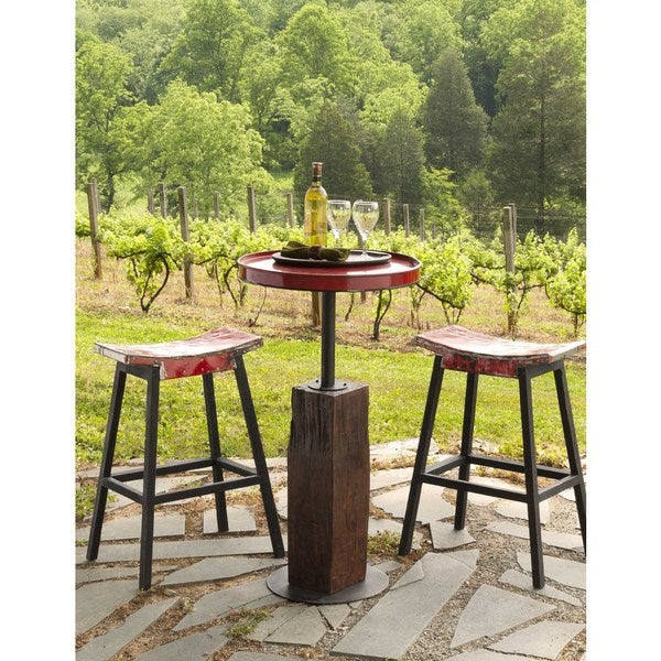Handmade TF-0999-42-RE Groovystuff Ruby Moonshine Red Iron and Teak Pub Table (Thailand)
