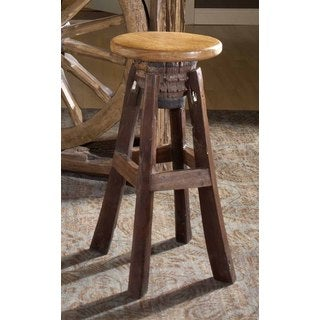 Groovystuff TF-0777-30 Frontier Reclaimed Teak Wood Bar Stool