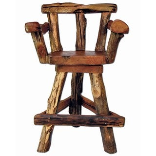 Groovystuff Sawtooth Brown Teak Swivel Bar Chair (Thailand)