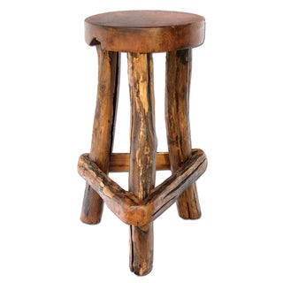 TF-0797-30 Groovystuff Sawtooth Brown Teak Bar Chair (Thailand)