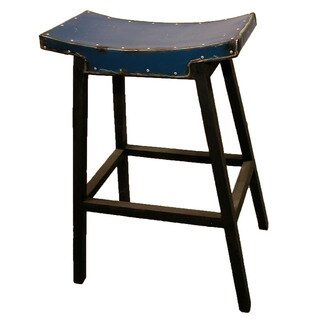 Groovystuff Cobalt Coda Blue Reclaimed Steel Saddle-seat Bar Stool (Thailand)