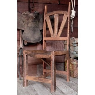 Handmade Brown Teak/ Wood Farmhouse-style Husker Chair (Thailand)