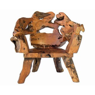 Handmade Groovystuff Brown Teak and Reclaimed Wood Badland Root Chair (Thailand)