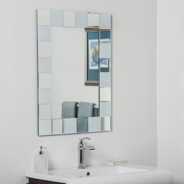 Ali Glass Beveled Bathroom Mirror - Silver - 31.5Hx23.6Wx.5D. Opens flyout.