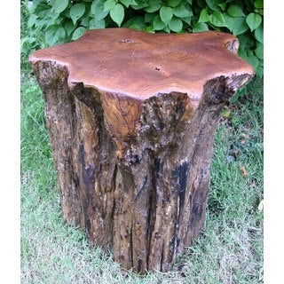 Groovystuff TF-0509 Teak Wood Campfire Stump Seat Stool Side End Table