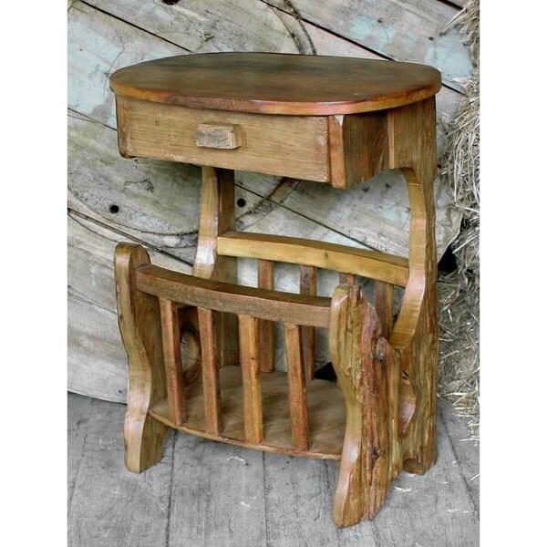 Groovystuff TF-0614 Mojave Brown Teak Wood Magazine Rack Side End Table