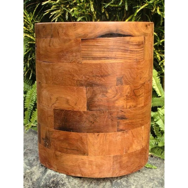Handmade TF-0630 Groovystuff Kodiak Brown Teak Round End Table Stool (Thailand)