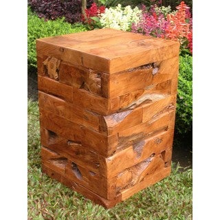 TF-0632 Groovystuff Cube Kodiak Brown Reclaimed Teak Side Table and Stool