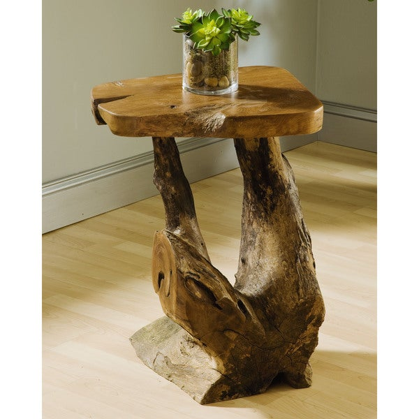 Teak Root End Table: Groovystuff TF-0648-24 Sierra Brown Teak Root Wood Medium