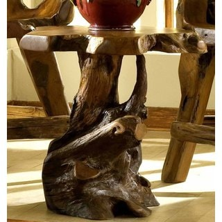 Handmade Groovystuff TF-0648-30 Brown Teak Root Wood Large Sierra End Table (Thailand)
