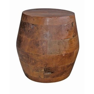 Groovystuff Barrel Kodiak Brown Teak Side Table Stool
