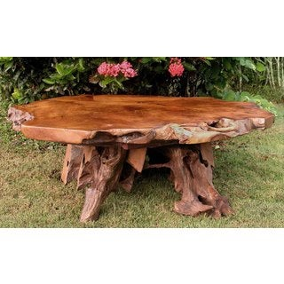 Groovystuff TF-0775 Bighorn Reclaimed Brown Teak Root Wood Coffee Table