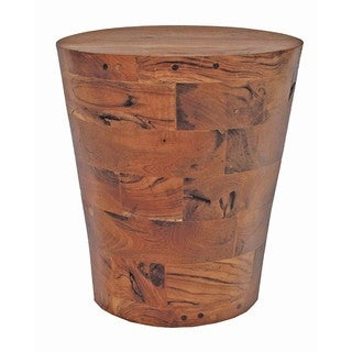 TF-0783 Brown Reclaimed Wood/Teak Cone Kodiak Side Table Stool (Thailand)