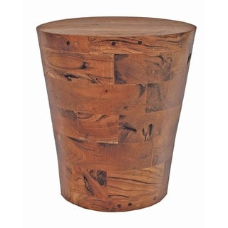 Handmade TF-0783 Brown Reclaimed Wood/Teak Cone Kodiak End Table Stool (Thailand)