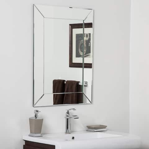 Avie Modern Clear Glass Frameless Bathroom Mirror - Silver - 31.5Hx23.6Wx.5D