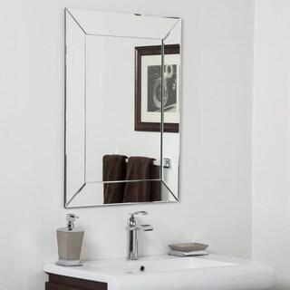 Avie Modern Clear Glass Frameless Bathroom Mirror - Silver - 31.5Hx23.6Wx.5D