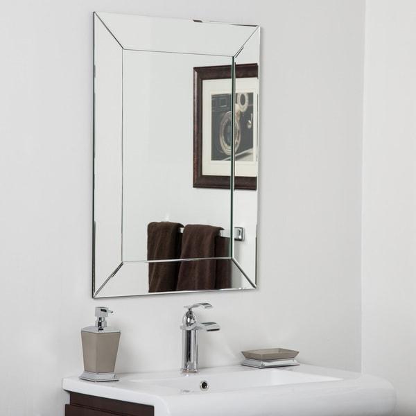 Avie modern clear glass frameless bathroom mirror free for Frameless rectangular bathroom mirror