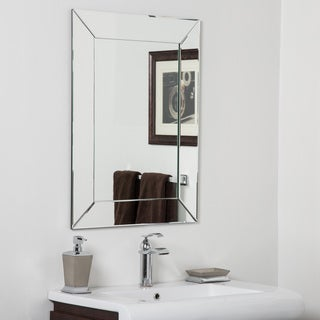 Avie Modern Clear Glass Frameless Bathroom Mirror