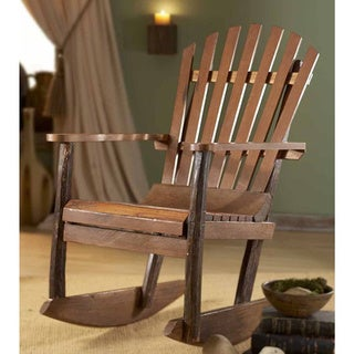 Handmade TF-0483 Brown Wood Adirondack Rocking Chair (Thailand)