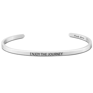 Pink Box Stainless Steel 3-millimeter 'Enjoy The Journey' Cuff Bracelet