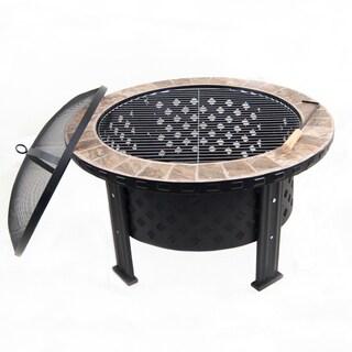 Astella Black Steel/ Ceramic Wood-burning Fire Pit