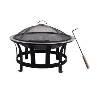 Astella Round Black Wooden 24-inch Burning Fire Pit With Stainless Steel Burner Bowl