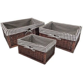 Wee's Beyond Rattan Storage Baskets with Linens (Pack of 3)