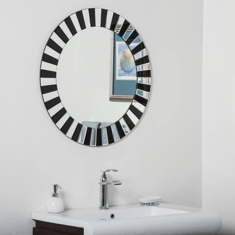Tiara Black/ Clear Glass Modern Bathroom Mirror - Silver - 27.5Hx27.5Wx.5D