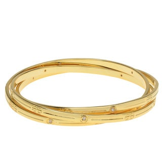 Yellow Brass Cubic Zirconia Engraved Bangle Bracelet