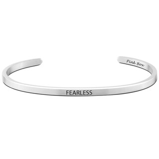 Pink Box Fearless Stainless Steel 3-millimeter Cuff Bracelet