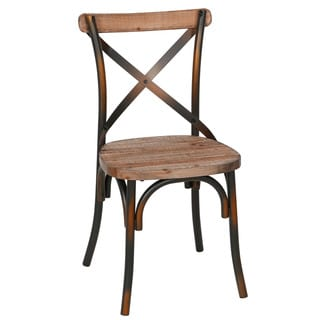 Handmade Rustic Iron & Reclaimed Pine Wood Dining Chair (China)