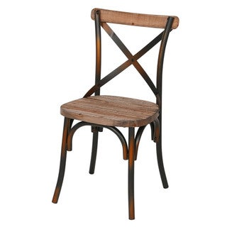 Rustic Iron & Reclaimed Pine Wood Dining Chair (China)