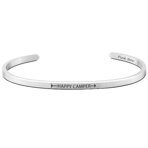 Pink Box 'Happy Camper' Stainless Steel 3-millimeter Cuff Bracelet