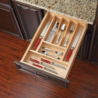 Rev-A-Shelf 4WCT-1 Wood Cut-to-size Cutlery/Kitchen Utensil Drawer Insert Separator/Organizer