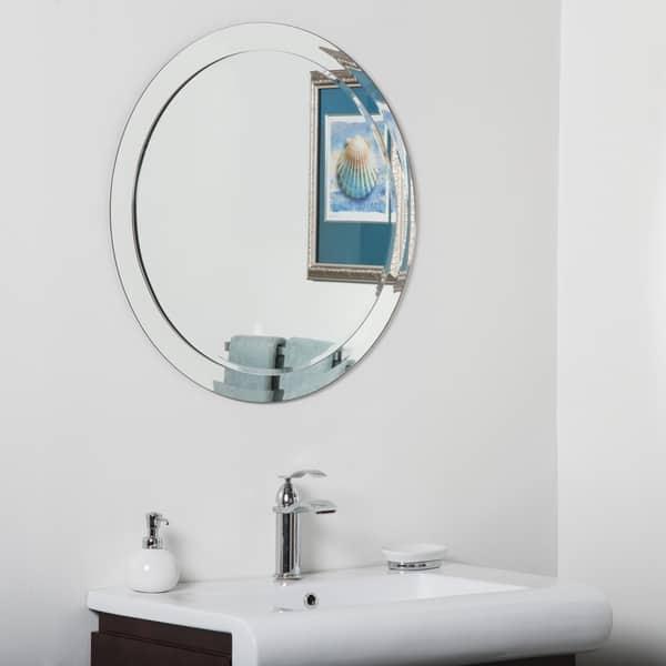 Chase Round Modern Bathroom Mirror Silver 27 5hx27 5wx 5d Overstock 13002643