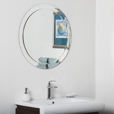 Chase Round Modern Bathroom Mirror - Silver - N/A