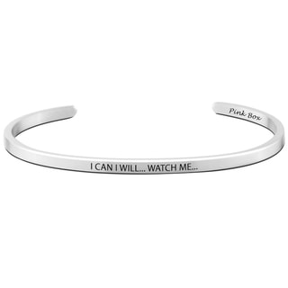 Pink Box Stainless Steel 'I Can I Will' Cuff Bracelet