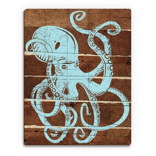'Octopus Planks' Blue Wood Abstract Wall Art